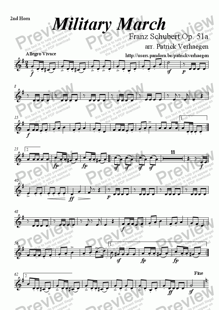 page one of the 2nd horn part from Military March (for brass band)
