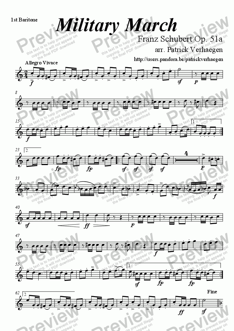 page one of the 1st baritone part from Military March (for brass band)
