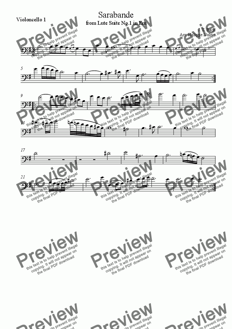 page one of the Violoncello 1 part from Sarabande - Lute Suite No.1 in Em