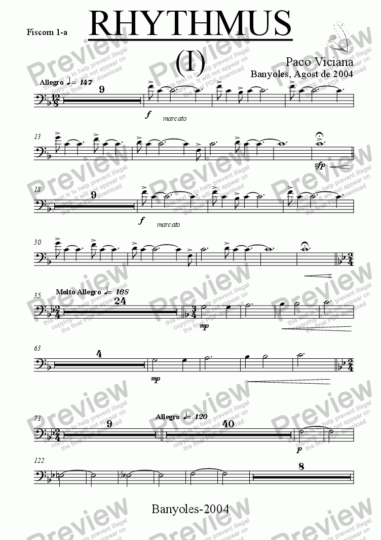page one of the Fiscorn 1-a part from 212-Rhythmus I