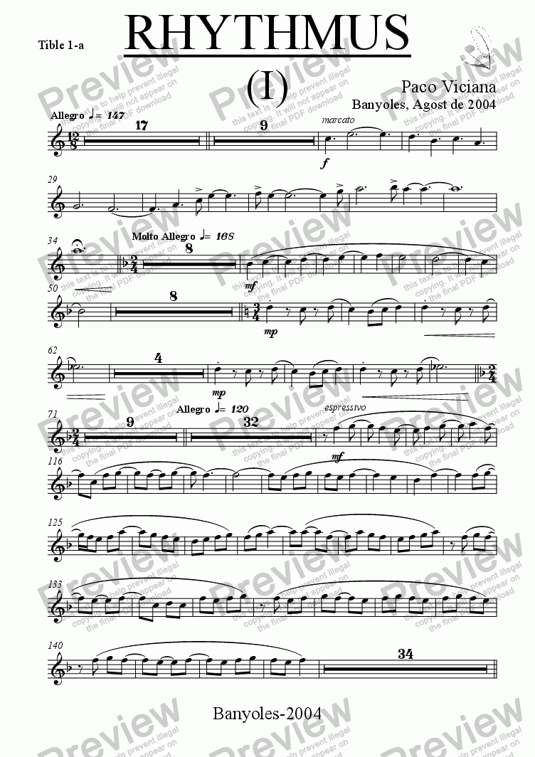 page one of the Tible 1-a part from 212-Rhythmus I