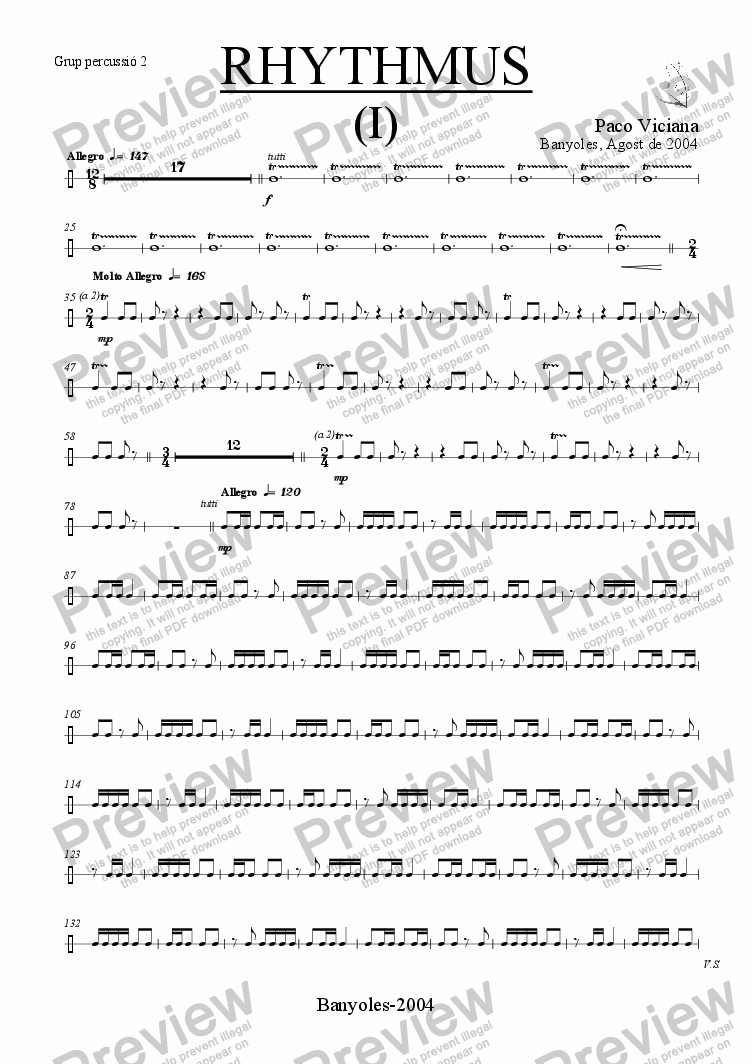 page one of the Grup percussió 2 part from 212-Rhythmus I