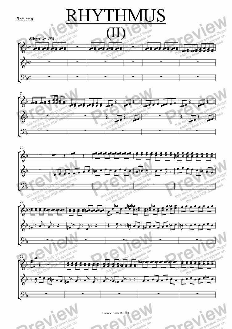 page one of the Reducció part from 212-Rhythmus II