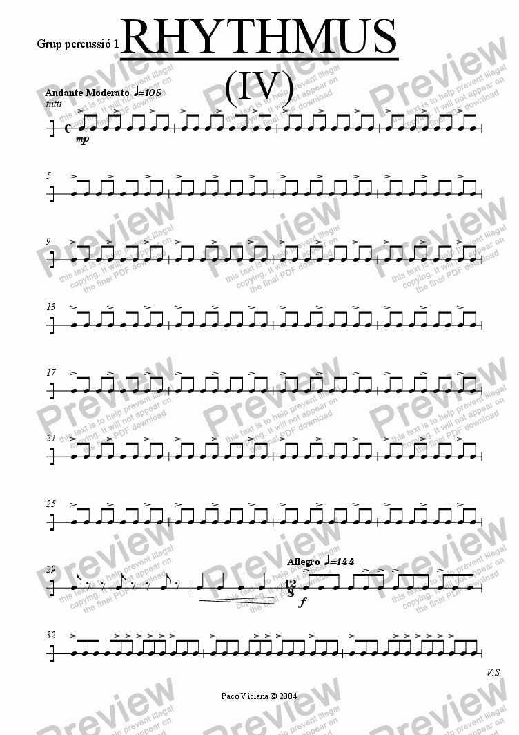 page one of the Grup percussió 1 part from 212-Rhythmus IV