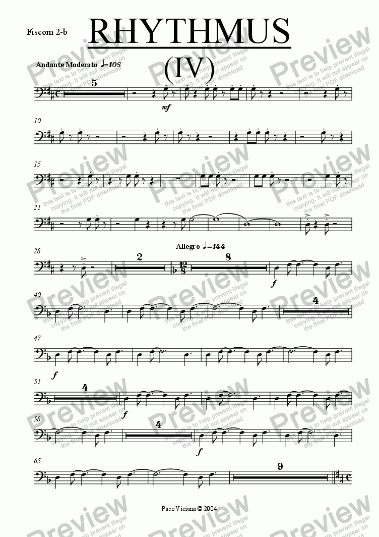 page one of the Fiscorn 2-b part from 212-Rhythmus IV