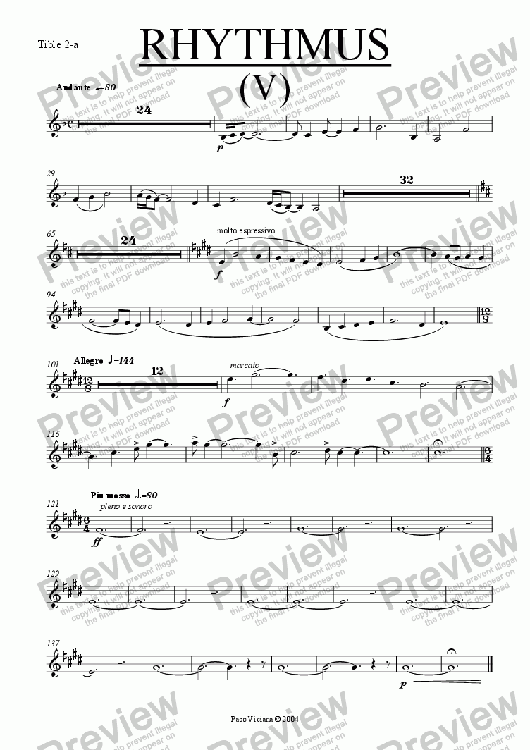 page one of the Tible 2-a part from 212-Rhythmus V