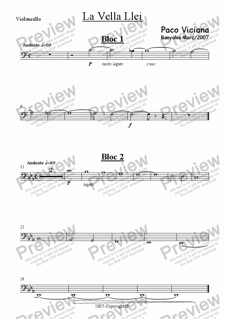 page one of the Violoncello part from 221-La vella llei (Short film)