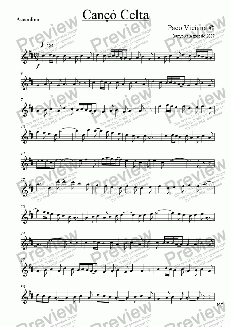 page one of the Accordion part from 222-Cançó Celta