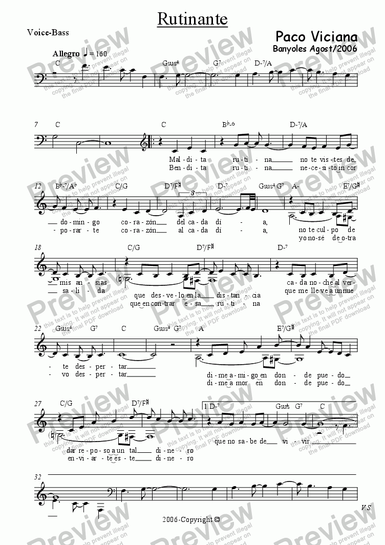 page one of the Voice-Bass part from 223-Rutinante (spanish)