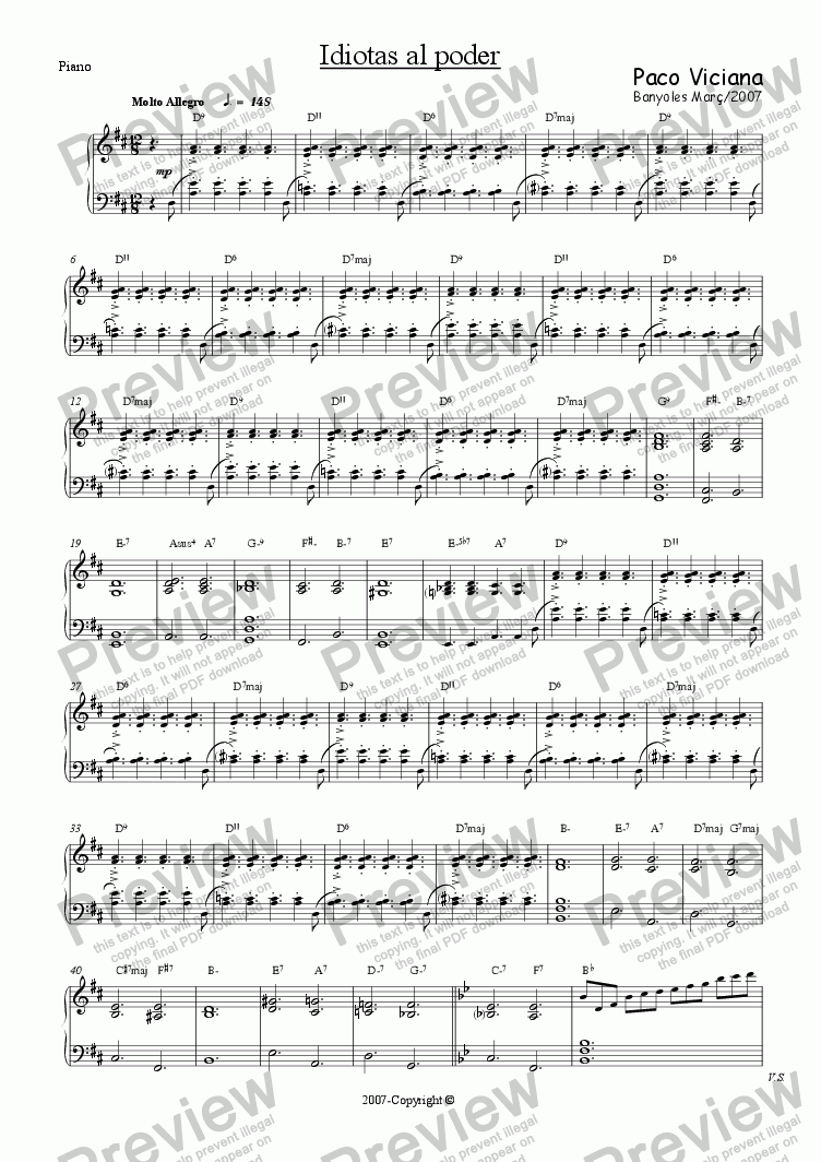 page one of the Piano part from 225-Idiotas al poder (spanish)