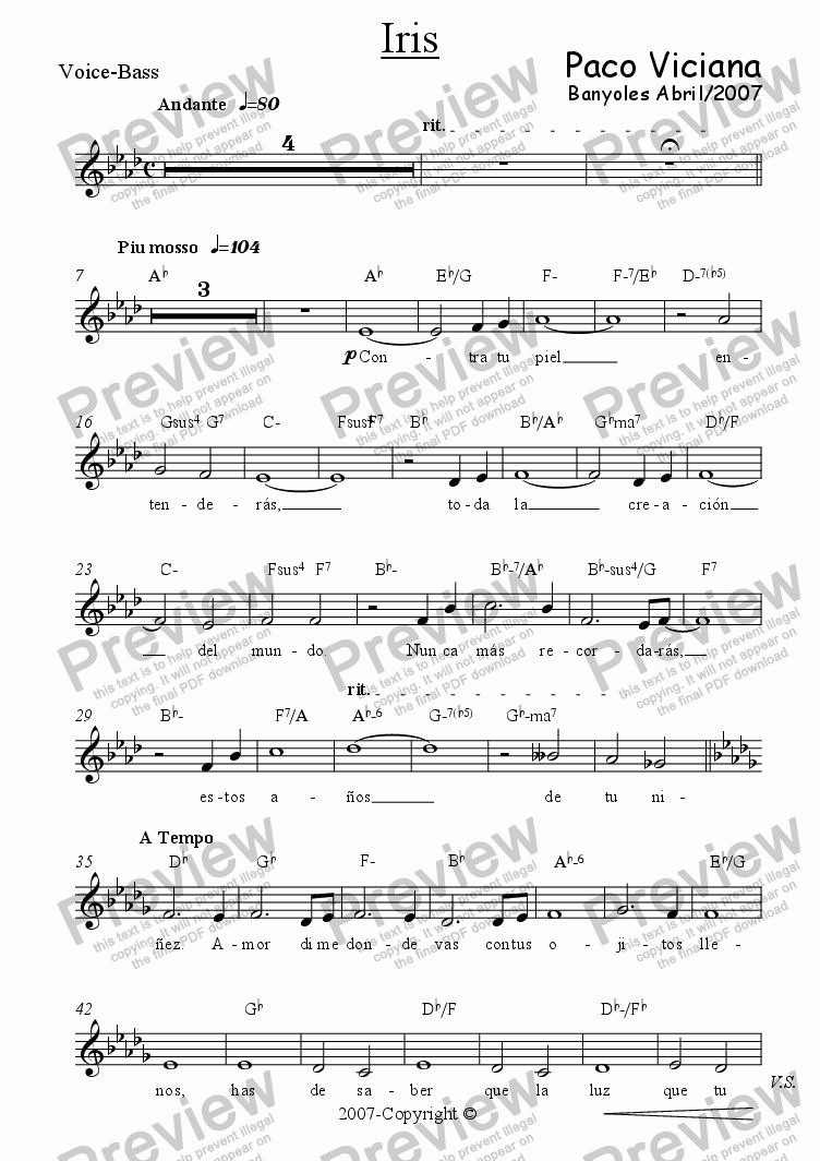 page one of the Voice-Bass part from 226-Iris (spanish)