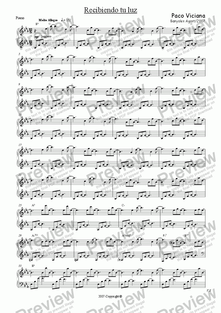 page one of the Piano part from 231-Recibiendo tu luz (spanish)