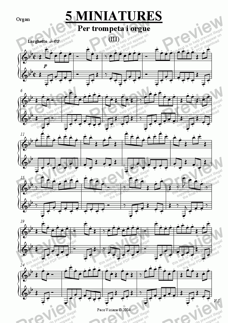 page one of the Organ part from 213-5 miniatures (III)-Trumpet