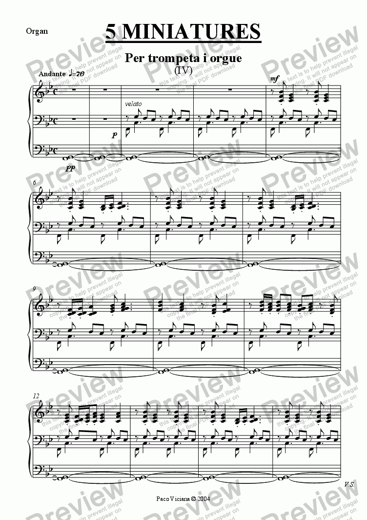page one of the Organ part from 213-5 miniatures (IV)-Trumpet