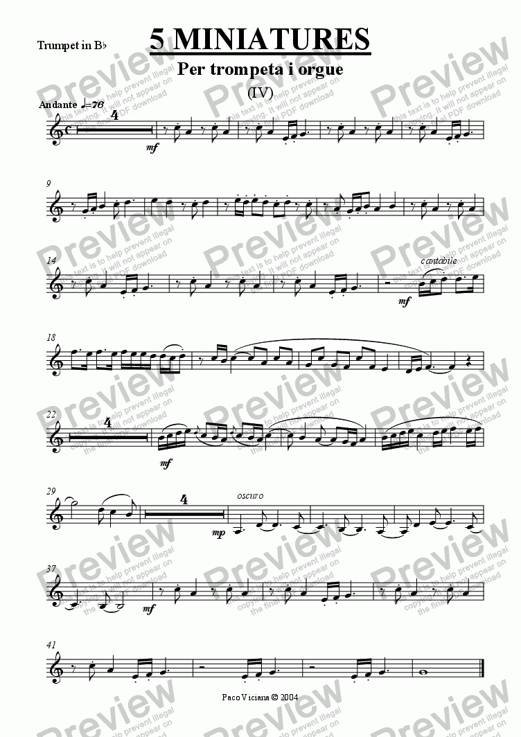 page one of the Trumpet in B^b part from 213-5 miniatures (IV)-Trumpet
