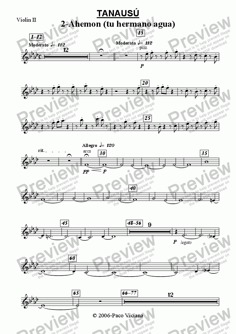 page one of the Violin II part from 219-Tanausú (02-Ahemon (tu hermano agua))
