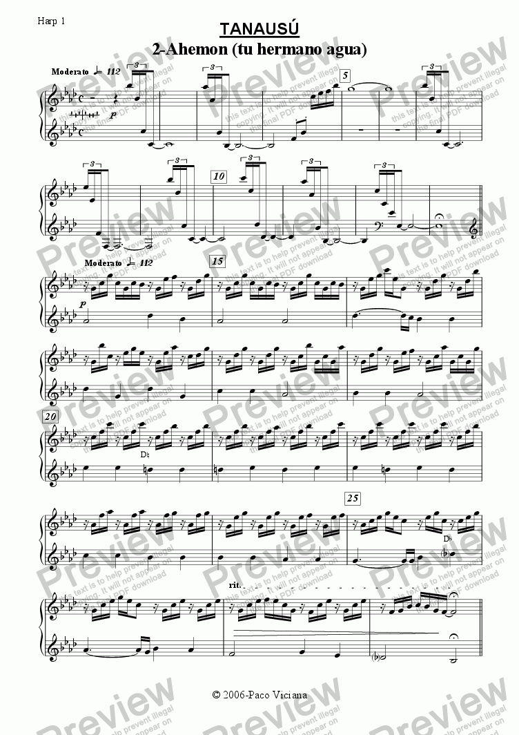 page one of the Harp 1 part from 219-Tanausú (02-Ahemon (tu hermano agua))