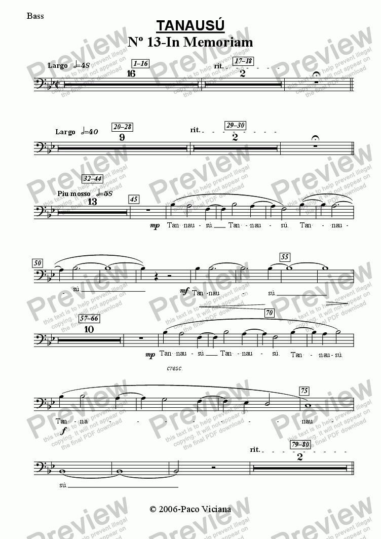 page one of the Bass part from 219-Tanausú (13-In Memoriam)
