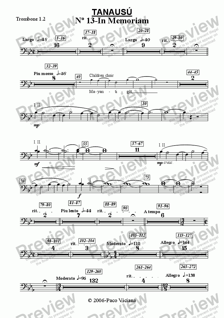 page one of the Trombone 1.2 part from 219-Tanausú (13-In Memoriam)
