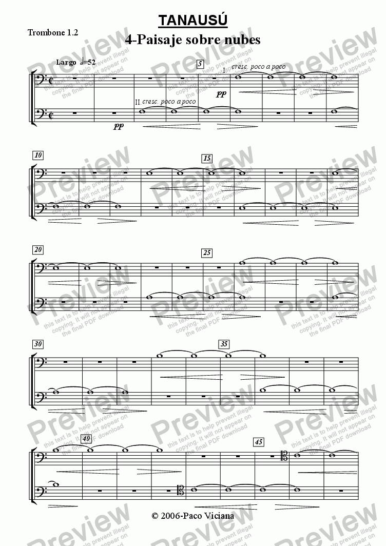 page one of the Trombone 1.2 part from 219-Tanausú (04-Paisaje sobre nubes)