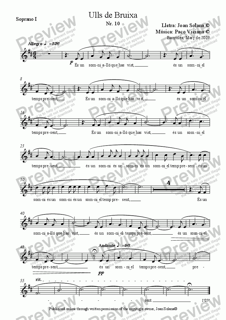 page one of the Soprano I part from 241-Ulls de Bruixa (Nr. 10)