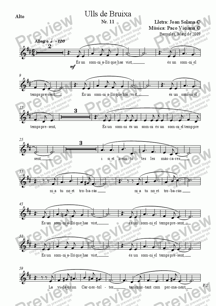 page one of the Alto part from 241-Ulls de Bruixa (Nr. 11)