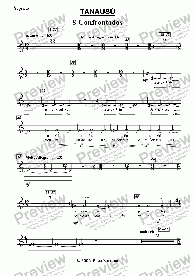 page one of the Soprano part from 219-Tanausú (08-Confrontados)