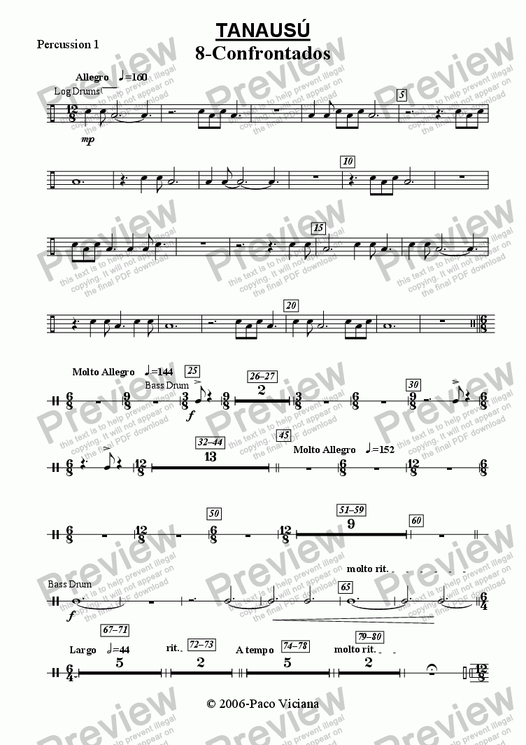 page one of the Percussion 1 part from 219-Tanausú (08-Confrontados)