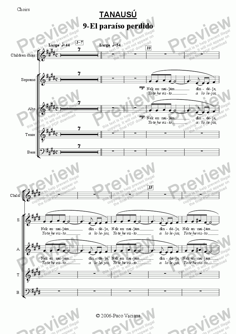 page one of the Choirs part from 219-Tanausú (09-El paraiso perdido)