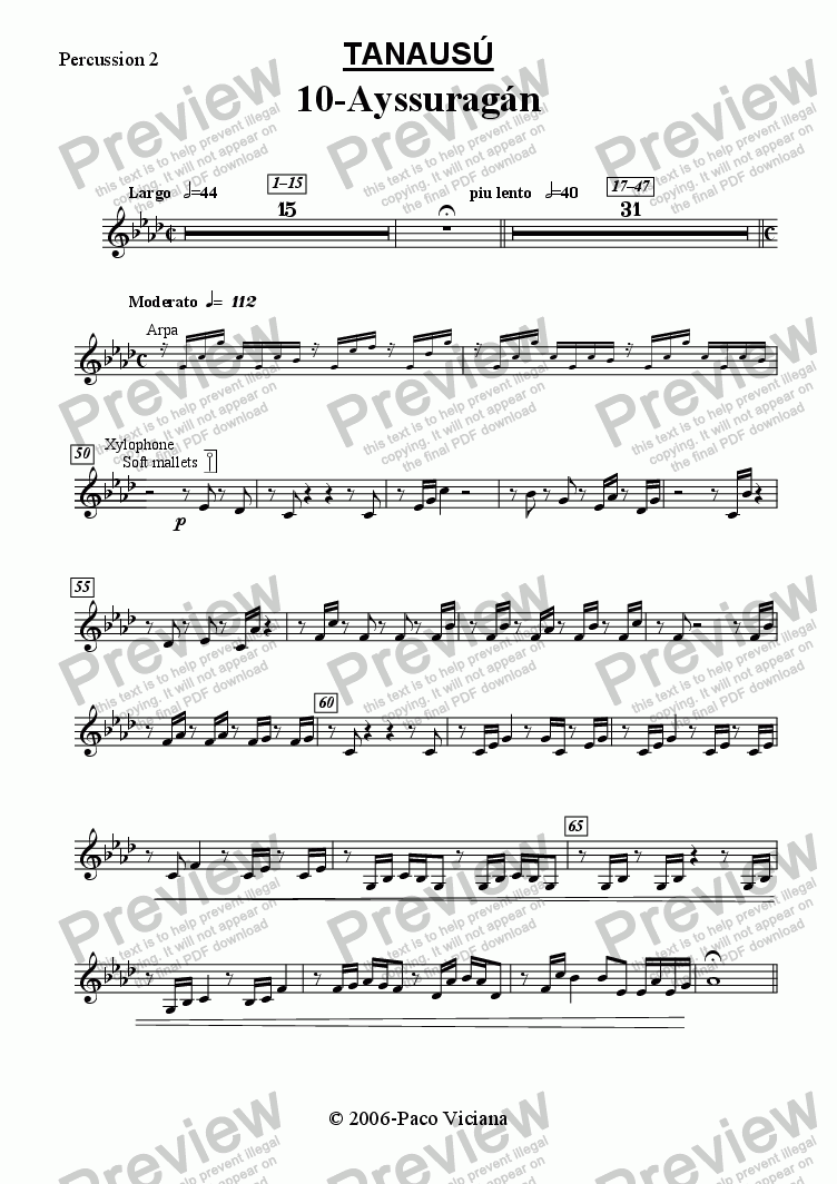 page one of the Percussion 2 part from 219-Tanausú (10-Ayssuragán)
