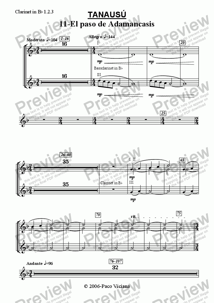 page one of the Clarinet in B^b 1.2.3 part from 219-Tanausú (11-El paso de Adamancasis)