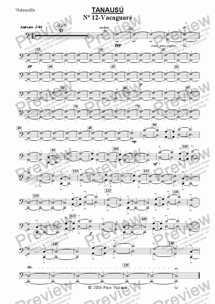 page one of the Violoncello part from 219-Tanausú (12-Vacaguaré)