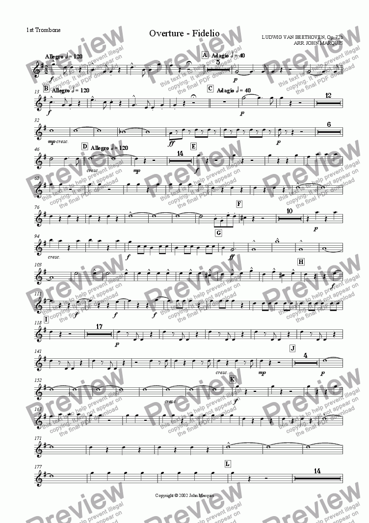 page one of the 1st Trombone part from Fidelio Overture for Brass Band