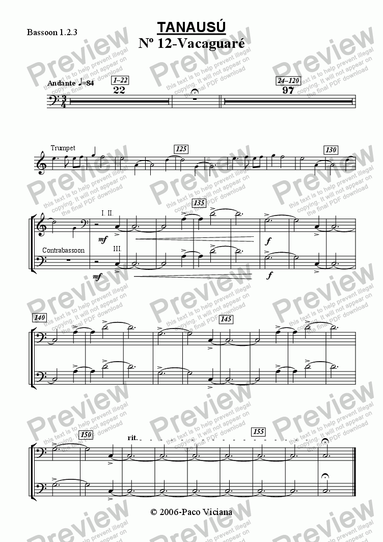 page one of the Bassoon 1.2.3 part from 219-Tanausú (12-Vacaguaré)