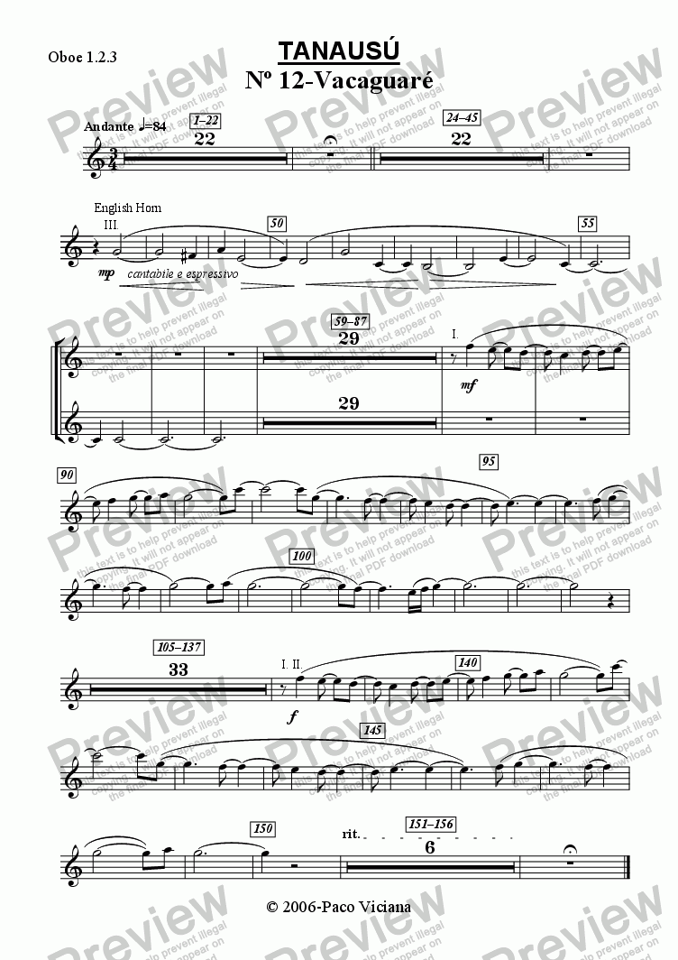 page one of the Oboe 1.2.3 part from 219-Tanausú (12-Vacaguaré)