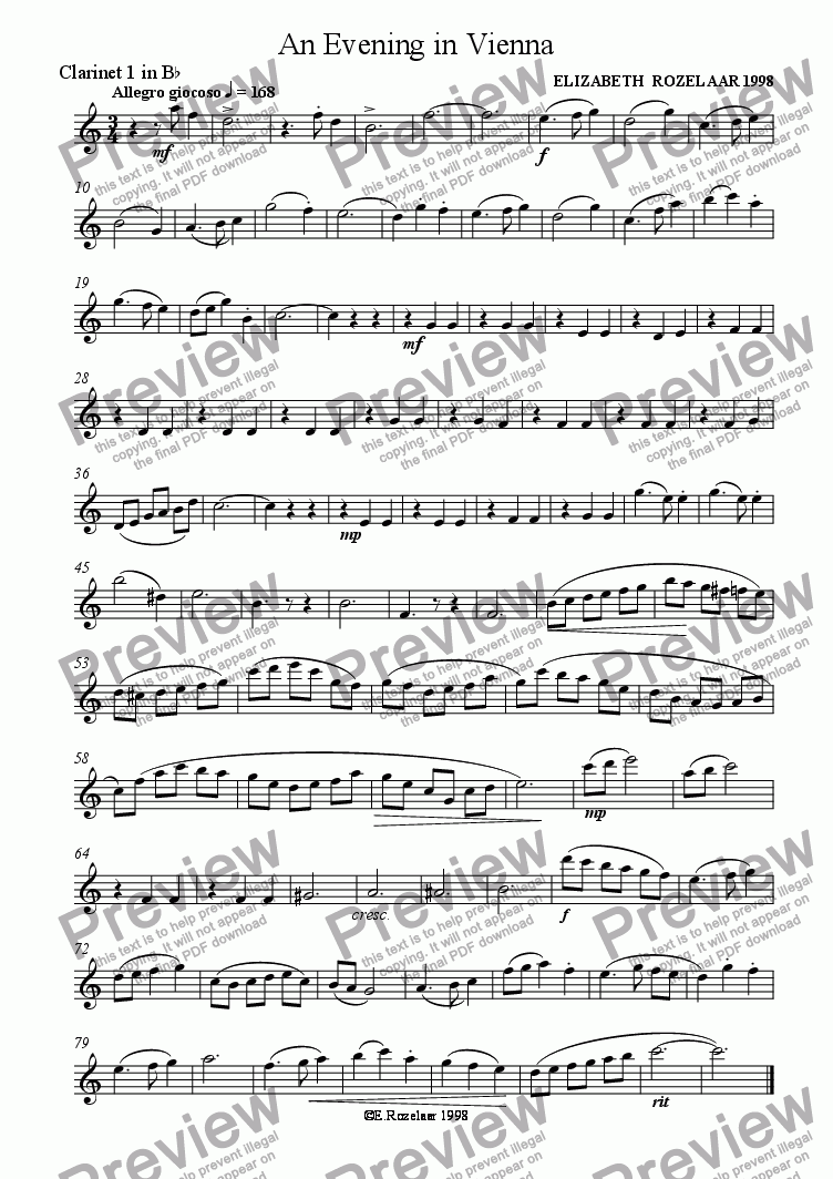 page one of the Clarinet 1 part from An Evening in Vienna for Clarinet Quartet