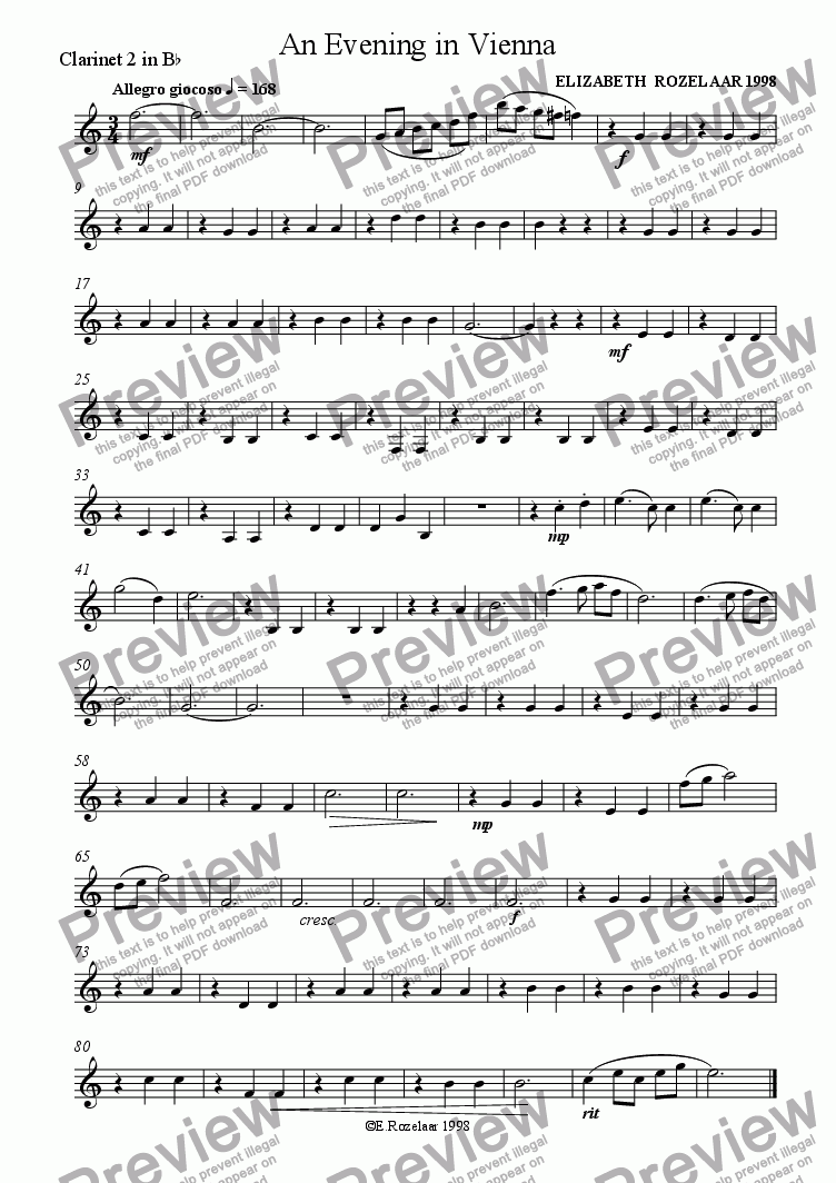 page one of the Clarinet 2 part from An Evening in Vienna for Clarinet Quartet