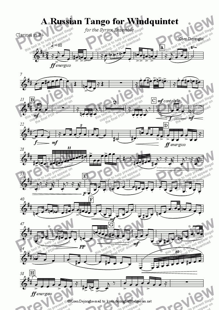 "page one of the Clarinet in Bb part from ""A Russian Tango For Wind Quintet"""