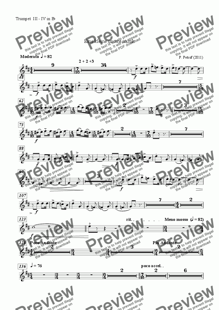 page one of the Trumpet  III - IV in B^b^ part from EINE SEHR KLEINE UNSERE MUSIK  for large wind orchestra - full score