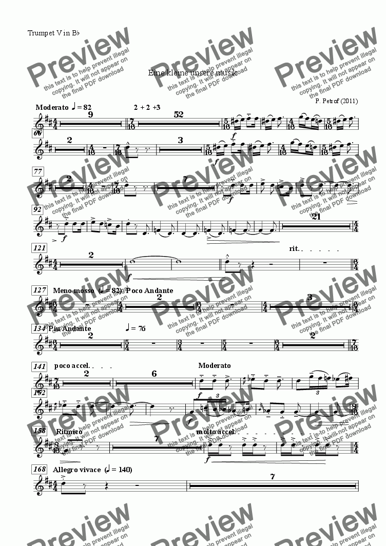 page one of the Trumpet V in B^b^ part from EINE SEHR KLEINE UNSERE MUSIK  for large wind orchestra - full score