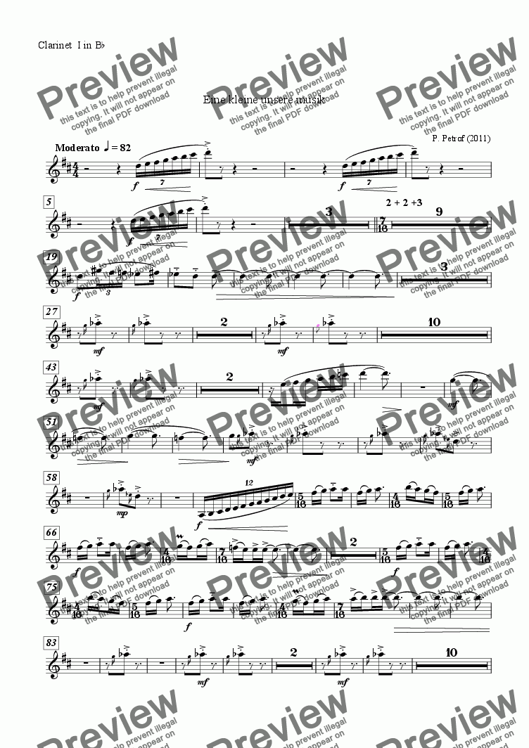 page one of the Clarinet  I in B^b^ part from EINE SEHR KLEINE UNSERE MUSIK  for large wind orchestra - full score