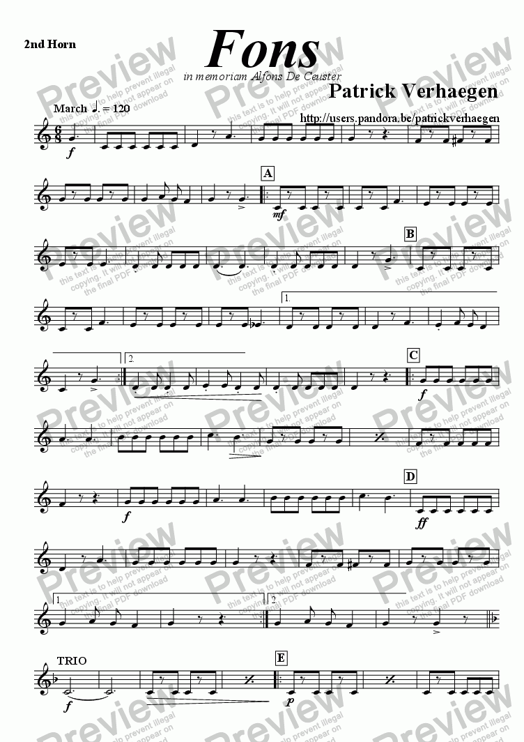 page one of the 2nd horn part from Fons (march for brass band)