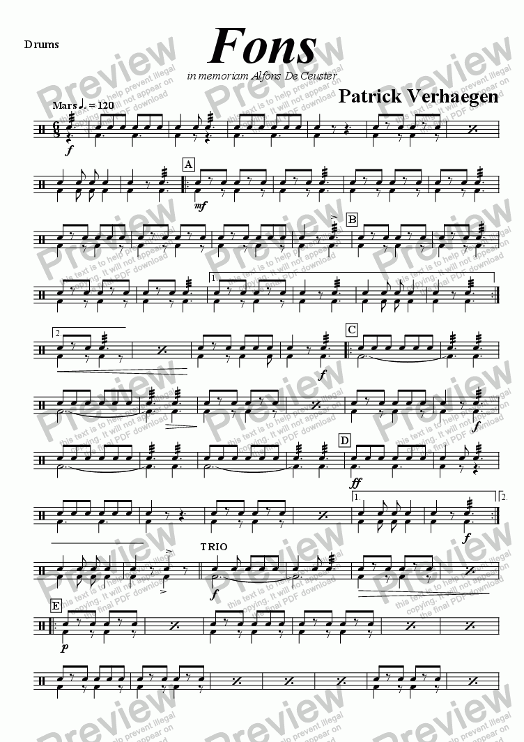 page one of the drums part from Fons (march for brass band)