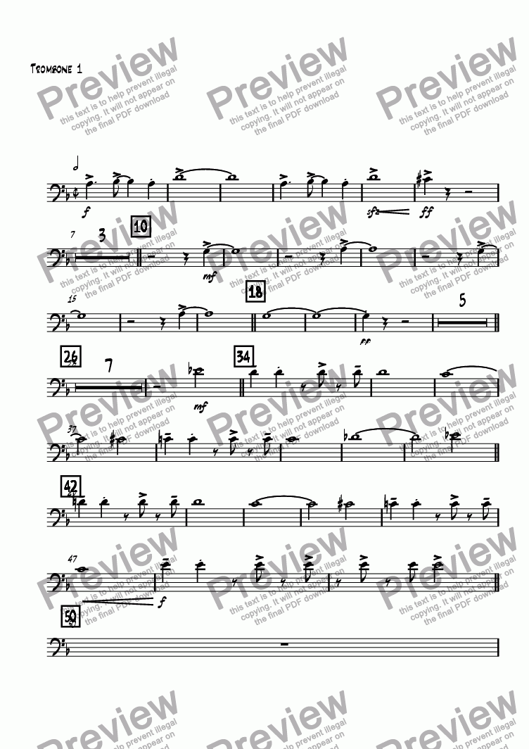 page one of the Trombone 1 part from Same Time, Tomorrow