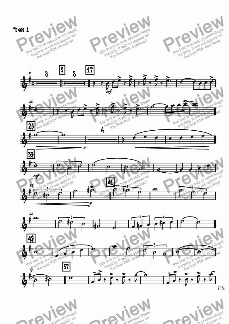 page one of the Tenor 1 part from La Escuela De Samba