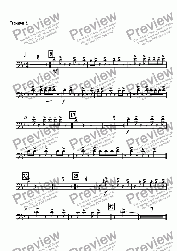 page one of the Trombone 1 part from Kanon Rock
