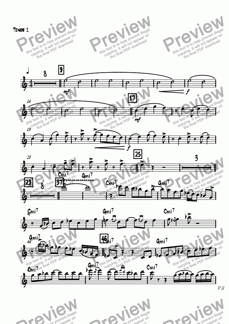 page one of the Tenor 1 part from Kanon Rock