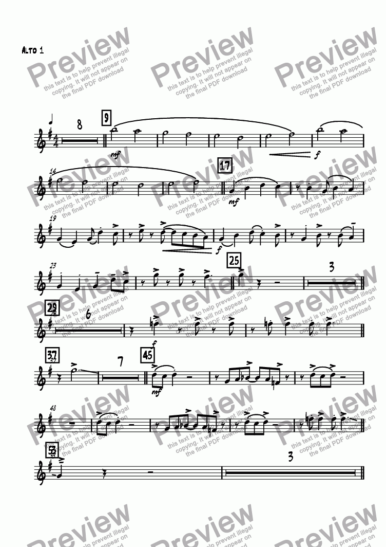 page one of the Alto 1 part from Kanon Rock