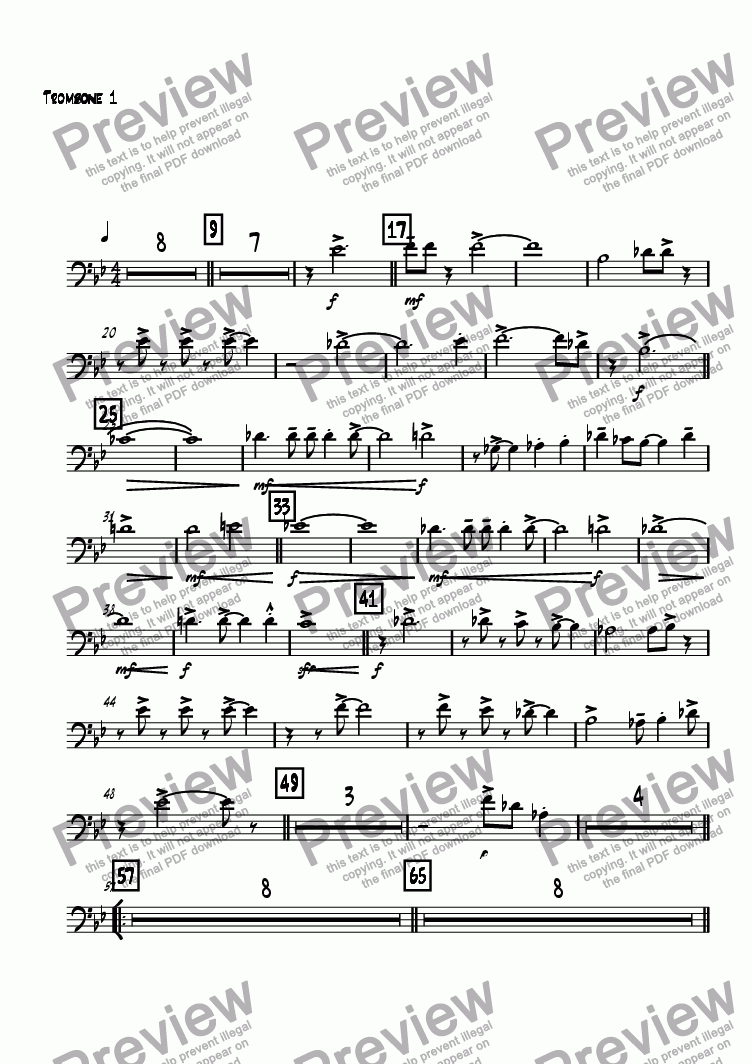 page one of the Trombone 1 part from Think About The Future