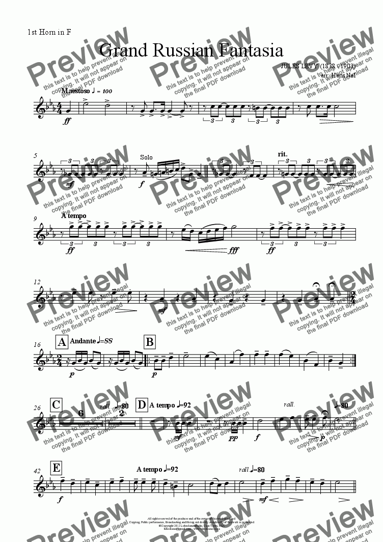 page one of the 1st Horn in F part from Grand Russian Fantasia